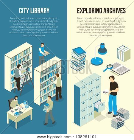 Public city library and academic scientific research documents archive 2 vertical isometric banners set isolated vector illustration