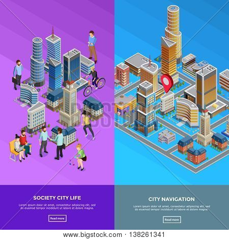Vertical isometric city banners presenting society life and city navigation isolated vector illustration