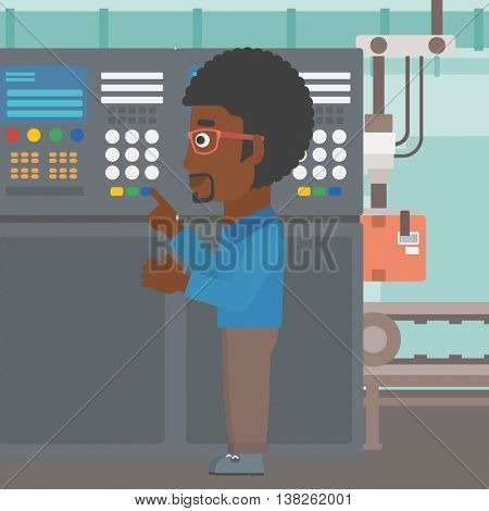 An african-american man working on control panel. Man pressing button at control panel in plant. Engineer standing in front of the control panel. Vector flat design illustration. Square layout.