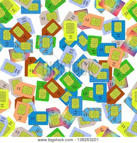 SIM Cards Seamless Pattern on White Background.