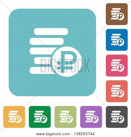 Flat ruble coins symbol icons on rounded square color backgrounds.