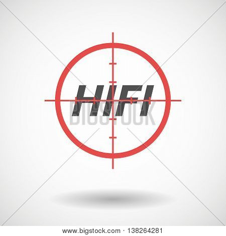 Isolated Red Crosshair Icon With    The Text Hifi