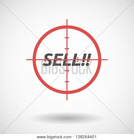 Isolated Red Crosshair Icon With    The Text Sell!!