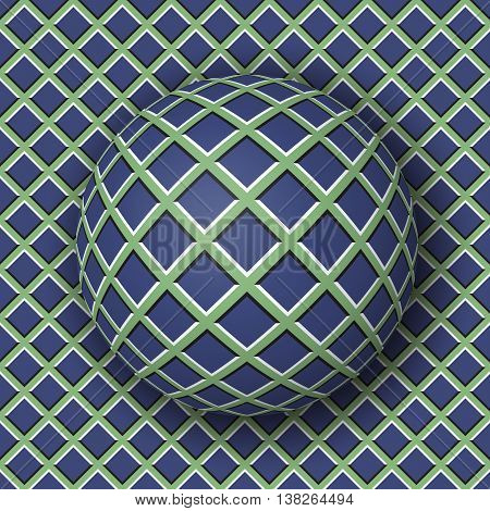 Checkered ball rolling along the checkered surface. Abstract vector optical illusion illustration. Extravagant background and tile of seamless wallpaper.