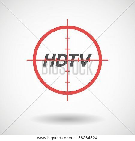 Isolated Red Crosshair Icon With    The Text Hdtv