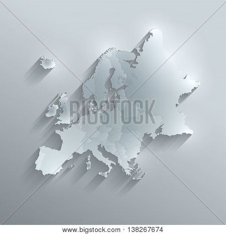 Europe political map glass card paper 3D raster individual states separate