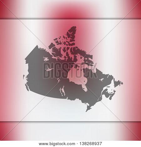 Canada map on blurred background. Blurred background with silhouette of Canada. Canada. Canada map.