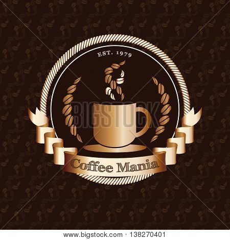 Vector : Premium Coffee Shop Logo With Gold Badge On Coffee Bean Pattern Background, Restaurant Logo