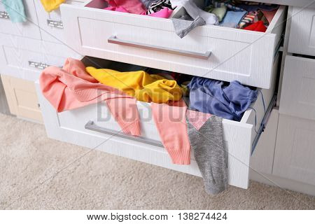 Chaos in chest of drawers