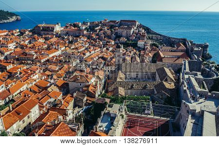 Dubrovnik Croatia - August 26 2015. Roofs of the buildings on the Old Town seen from the Walls of Dubrovnik