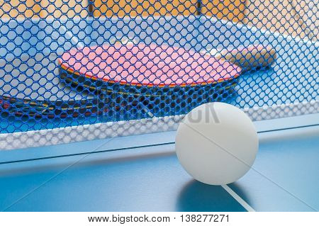Ping Ball Ball In Front Of A Table Tennis Net