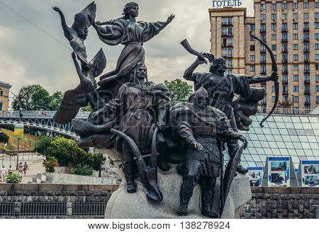 Kiev Ukraine - July 26 2015. Monument to Founders of Kiev at Independence Square