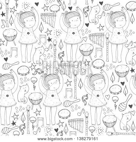 Vector black and white seamless illustration with cute dancing girl musical instruments cat flowers doodle shapes. Square hand drawn picture good for dancing school dance classes ballet studio.