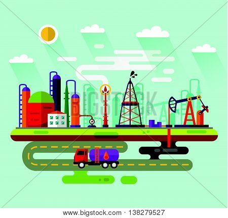 Vector flat style infographic of oil extraction industry. Including rig, pumping station, storage, factory, road, truck tanker, petroleum refinery, smoke from the chimney, clouds, sun.