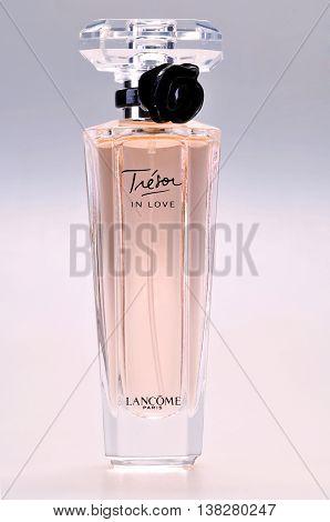 KIEV UKRAINE - August 03 2011. Illustrative editorial photo - eau de parfum (perfume) Lancome