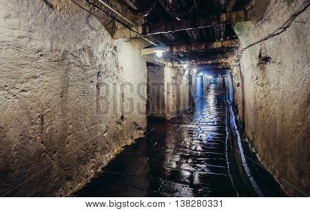 Pilsen Czech Republic - October 3 2015. Undeground passage in histroic part of Pilsner Urquell Brewery in Pilsen (Plzen) city