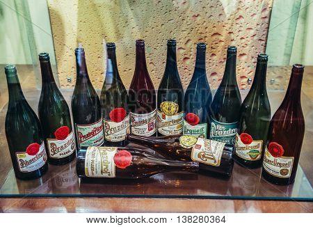 Pilsen Czech Republic - October 3 2015. Old bottles of Pilsner Urquell shown in Brewery Museum in Pilsen