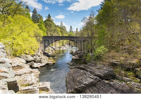 Beautiful Scotland uk Invermoriston bridge Scottish tourist attraction located north of Fort Augustus on the A82