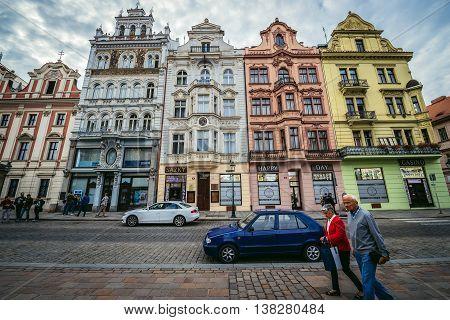Pilsen Czech Republic - October 3 2015. Buildings at Republic Square in Pilsen (Plzen) city