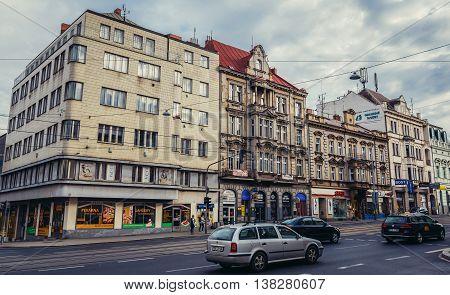 Pilsen Czech Republic - October 3 2015. Buildings at Klatovska Street in Pilsen (Plzen) city