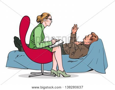 Help psychologist. Psychotherapy. Consulting psychologist doctor. Psychologist listens to patient. Medical counseling.