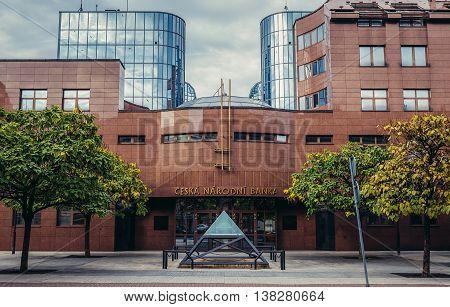 Pilsen Czech Republic - October 3 2015. Main facade of Czech National Bank building in Pilsen