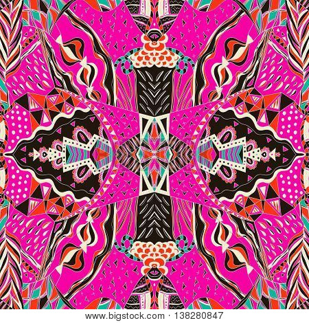 Traditional ornamental paisley bandanna. Hand drawn colorful aztec pattern with artistic pattern. Seamless pattern can be used for pattern fills web page background surface textures.