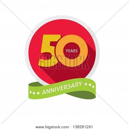50th anniversary logo template with shadow on circle number, 50 years icon. Fiftieth years birthday party symbol. fiftieth anniversary holiday sticker, badge ribbon, poster, emblem, tag