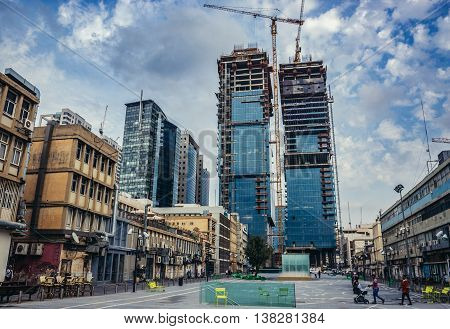 Tel Aviv Israel - October 19 2015. Givon Square in Tel Aviv. View with building site of Ha'Arba'a Towers