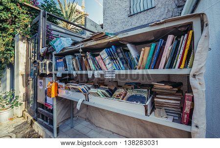 Tel Aviv Israel - October 20 2015. Books for borrow on the street in historic Neve Tzedek district (lit. Abode of Justice) of Tel Aviv