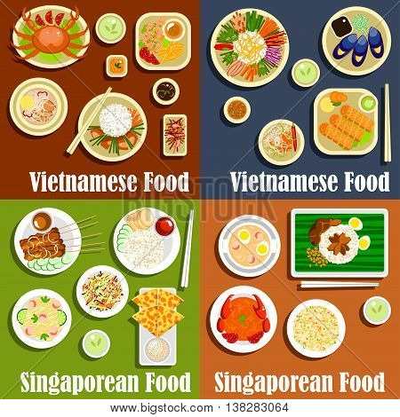 Vietnamese and singaporean national cuisine. Salad and grilled meat, healthy rice and tasty noodle meals with sauce and spicy ingredients. Asian chicken and roti prata, sesame seeds and chilli crab