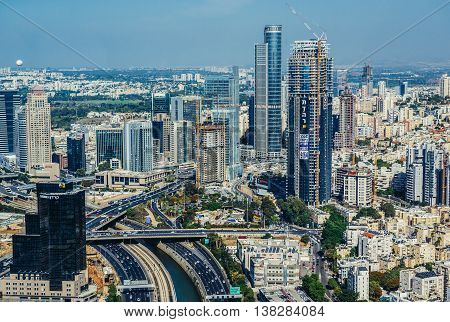 Tel Aviv Israel - October 21 2015. Aerial view of Ramat Gan district from 49th floor of Circular Tower one of three skyscrapers of Azrieli Center complex in Tel Aviv