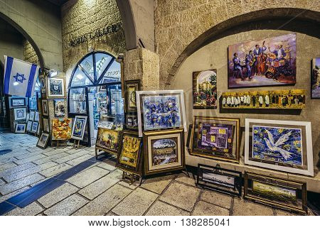 Jerusalem Israel - October 22 2015. Art gallery located at north-south-oriented ancient street called Cardo renovated and covered with the arched roof in Jerusalem
