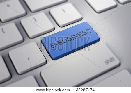 E-business Key On White A Keyboard Closeup. -commerce Concept Image.