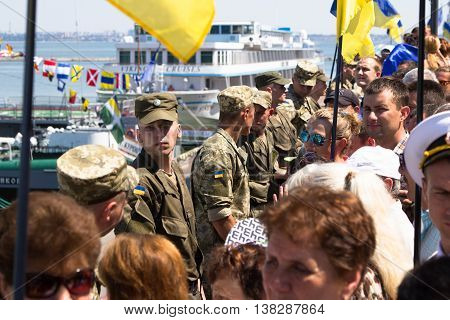 Odesa, Ukraine - July 03, 2016: Ukrainian soldiers in the Port of Odesa, guarding during celebration NAVY forces day.