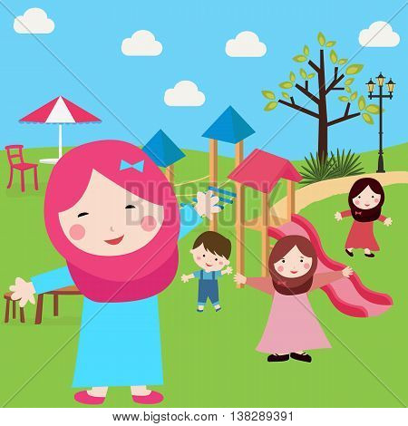 kids Islam girls and boys having fun in park wearing veil with sliding and tree vector