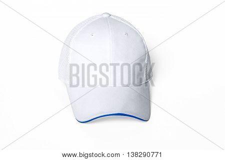 White adult golf or baseball cap on white background