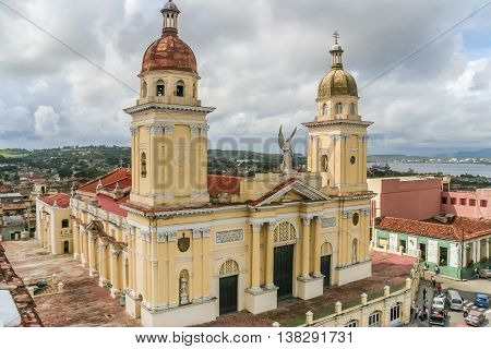 SANTIAGO, CUBA - OCTOBER 2, 2007: Cathedral in the historical center of Santiago de Cuba