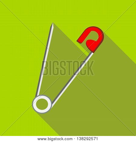 Open safety pin icon in flat style on a green background
