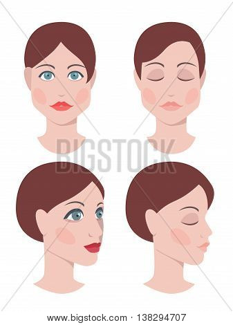 Vector illustration of pretty woman face, front and profile view, beauty concept