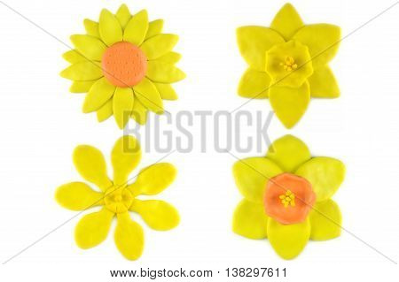 Modelling clay sunflower, daffodil and golden gardenia flower on white background