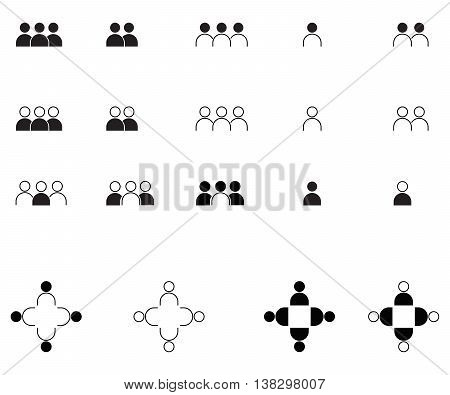 People icon set  team set corporate business social issues