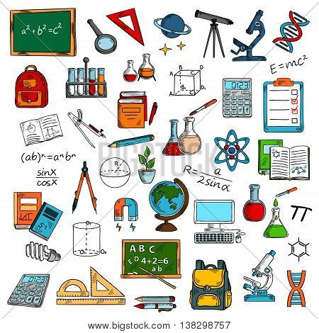 Sketches of school or university, college science equipment for studying or learning, education. Blackboard and magnifying glass, ruler and telescope, microscope and bag, flask and tube, pencil and atom, computer and molecule, backpack and textbook