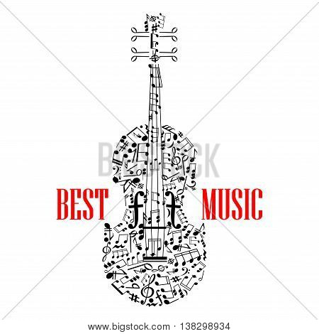 treble and Bass clefs and notes in scattered random form united in shape of violin or fiddle with letters Best music