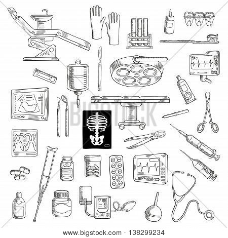 Sketch of medicine or healthcare icons for hospital or clinic equipment. Syringe and stethoscope, medical scissors and pliers, pipette or dropper and ointment, radiograph and cardiogram, sphygmomanometer and crutch, ultrasound and toothbrush.