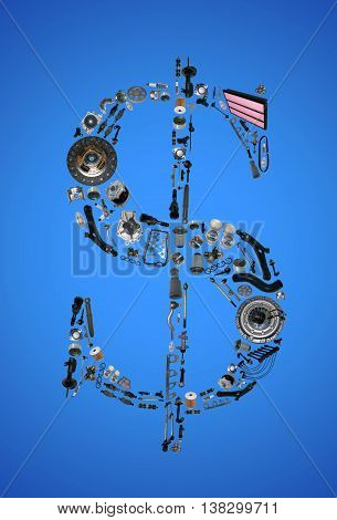 Dollar money sign with auto parts for car. Spare parts for car for shop, aftermarket OEM. Dollar icon. Many auto parts isolated in money dollar