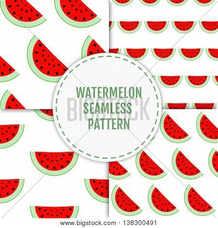 Colorful stylish summer seamless pattern of watermelon slices. Vector illustration of summer fruits. Eco food illustration. Can be used for banner, cards, invitations etc.