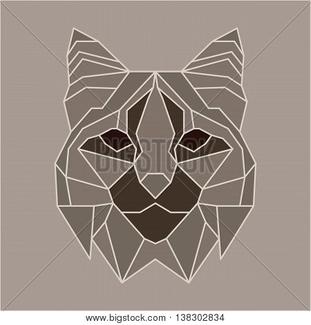 Brown and beige low poly bobcat. Geometric line art