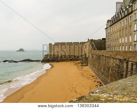Ancient buildings in Intramuros - the Internal City of Saint Malo. Brittany, France