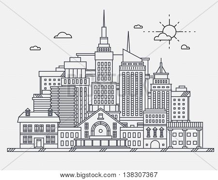 Business center of big city street skyscrapers megapolis buildings concept real estate architecture, commercial building and offices drawing in linear flat design